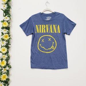 Nirvana Blue Yellow T-Shirt Tee Cotton Blend M